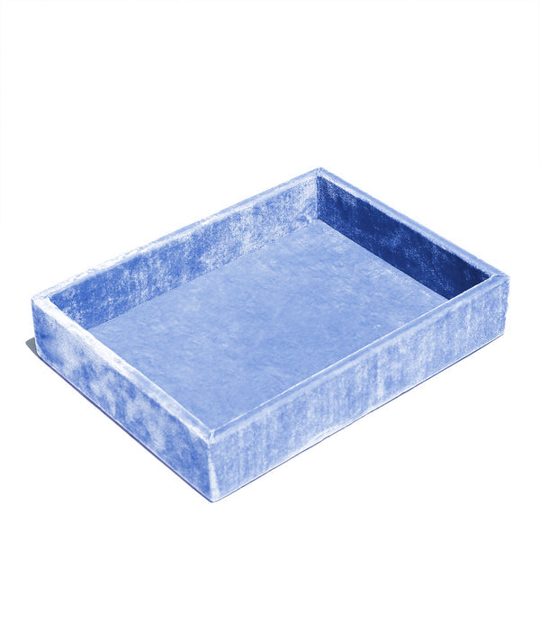 Stackable Silk Velvet Jewelry Tray in French Blue