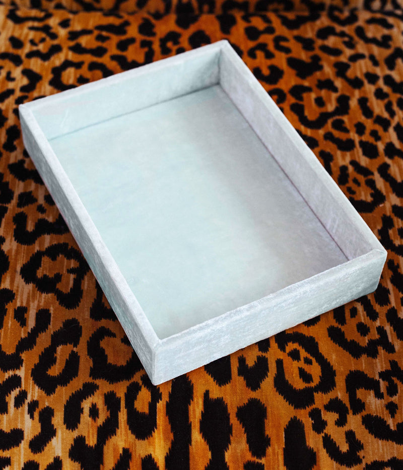 Stackable Silk Velvet Jewelry Tray in Seafoam