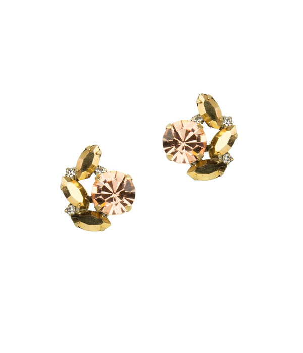 HATTIE STUDS IN METALLIC BLUSH