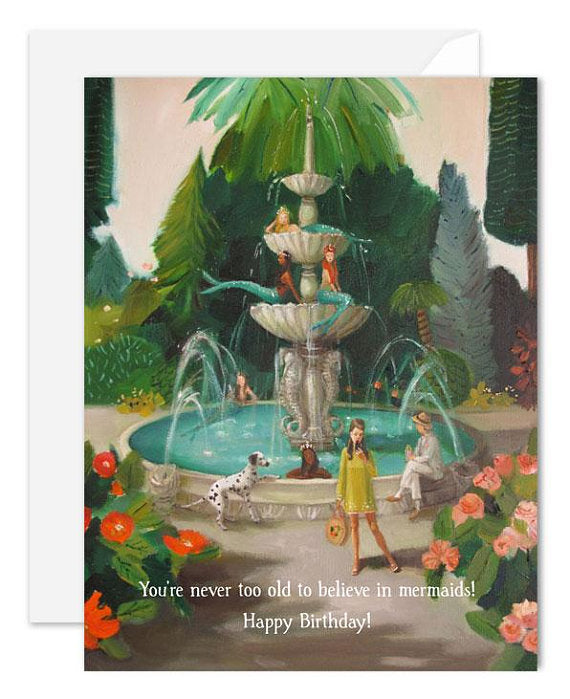 Janet Hill Studio - Selfie At The Mermaid Public Fountain Card
