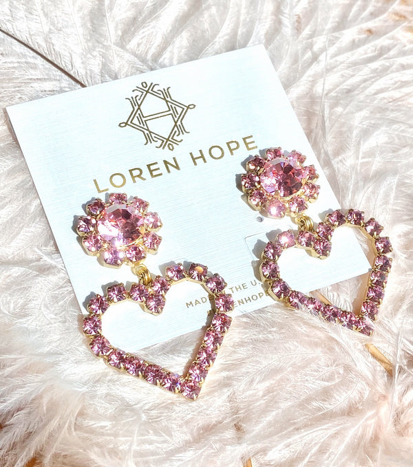 Cupid Heart Earrings in Blush