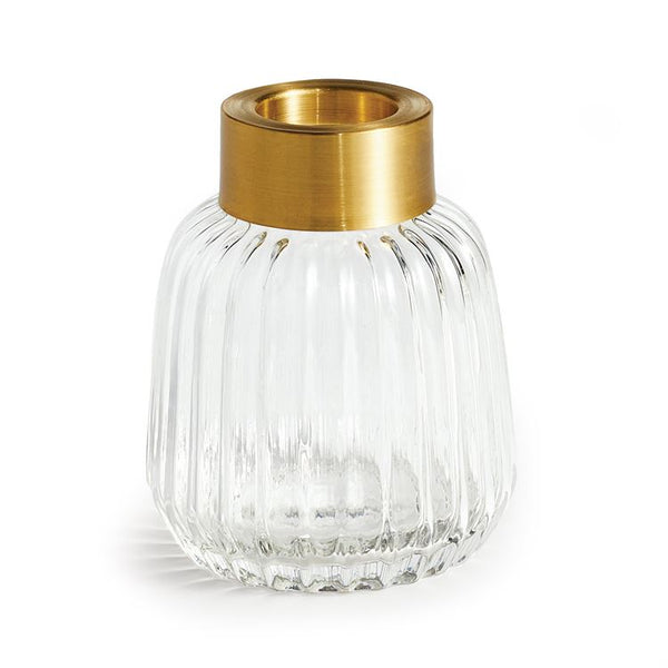 Fluted Glass Vase with Brass - 4.25""