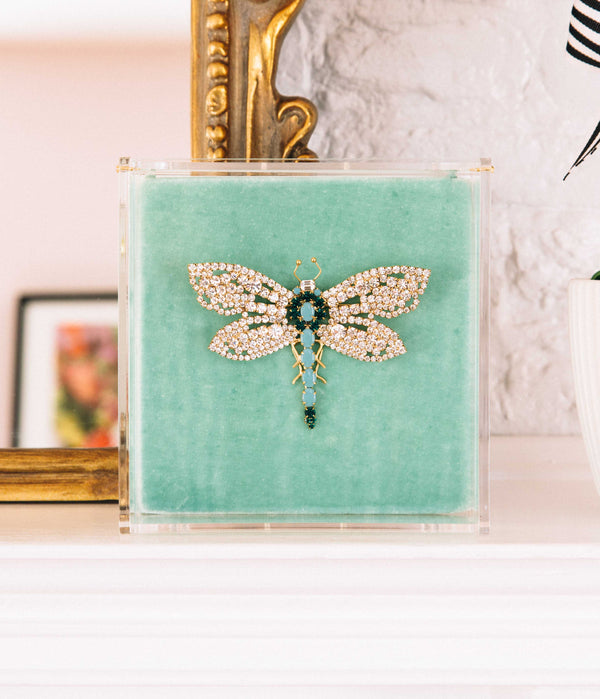Large Dragonfly in Turquoise / Emerald / Crystal
