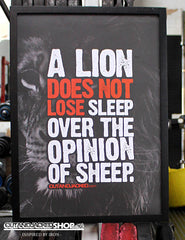 "A2 Poster - ""A Lion Does Not Lose Sleep Over The Opinion Of Sheep"" - CutAndJacked Shop"