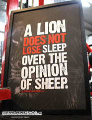 "A2 Poster - ""A Lion Does Not Lose Sleep Over The Opinion Of Sheep"" - CutAndJacked Shop  - 2"