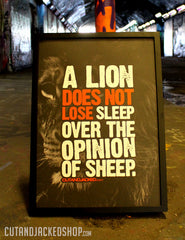 "A2 Poster - ""A Lion Does Not Lose Sleep Over The Opinion Of Sheep"" - CutAndJacked Shop  - 8"