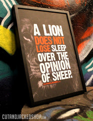 "A2 Poster - ""A Lion Does Not Lose Sleep Over The Opinion Of Sheep"" - CutAndJacked Shop  - 6"