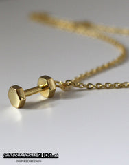 Dumbbell Necklace - 18k Gold Plated - CutAndJacked Shop  - 2