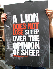 "A2 Poster - ""A Lion Does Not Lose Sleep Over The Opinion Of Sheep"" - CutAndJacked Shop  - 1"