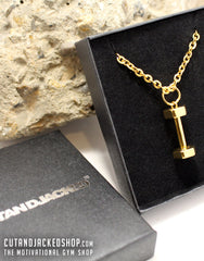 Dumbbell Necklace - 18k Gold Plated - CutAndJacked Shop