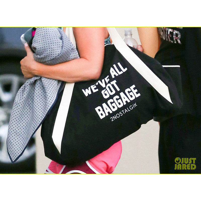 Kaley Cuoco rocking We've All Got Baggage Duffle