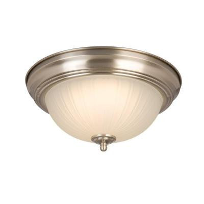Commercial Electric, Twin Pack Brushed Nickel LED Flushmount - LED Lighthouse Inc Webstores, ALLBulb & A19LED