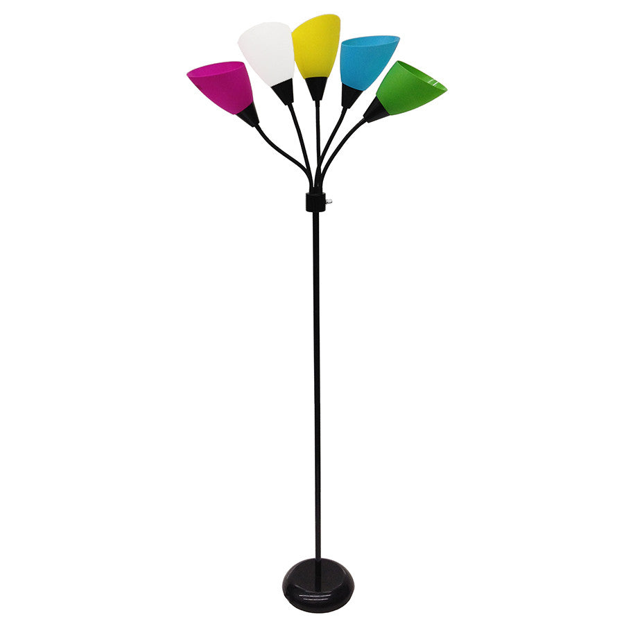 Style Selections 67-in 3-Way Black Standard Multi-Head Indoor Floor Lamp with Plastic Shade , FLOOR LAMP - Style Selections, A19LED.COM