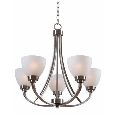 Hampton Bay, Hastings 5-Light Brushed Steel Chandelier , INDOOR LIGHTING FIXTURES - Hampton Bay, A19LED.COM