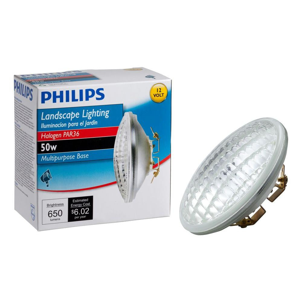Philips, 50-Watt 12-Volt Halogen PAR36 Landscape Lighting Multi-Purpose Base Flood Light Bulb , FLOOD LIGHTS - Philips, A19LED.COM