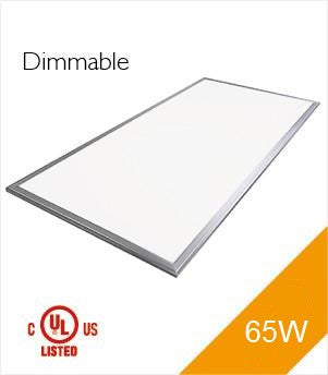 LED Panel Light, 2'x4', 65W, UL&DLC, Dimmable, 4000K, 4-Pack