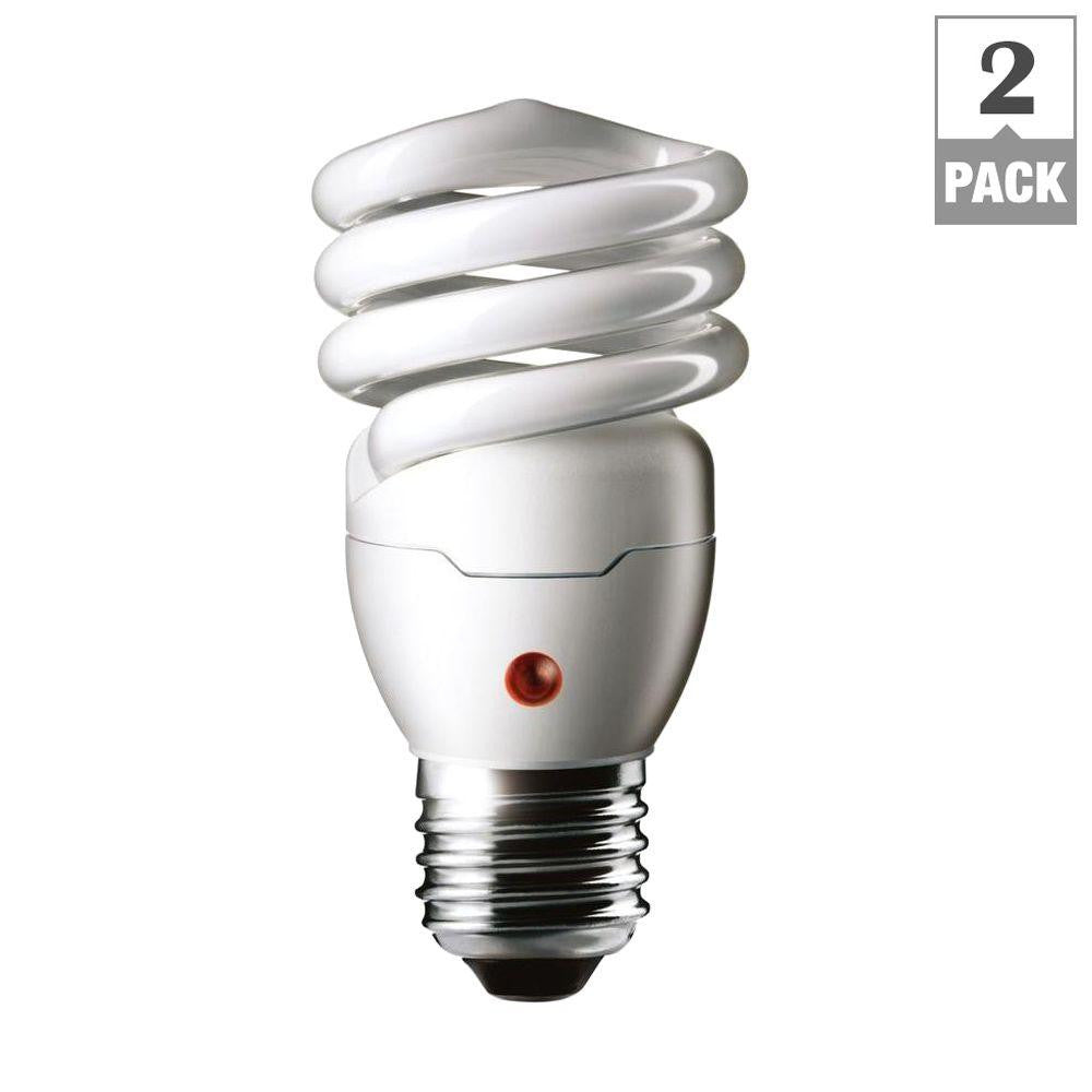 Philips 60W Equivalent Soft White Spiral Dusk till Dawn CFL Light Bulb (2-pack) , BULB-CFL - Philips, A19LED.COM