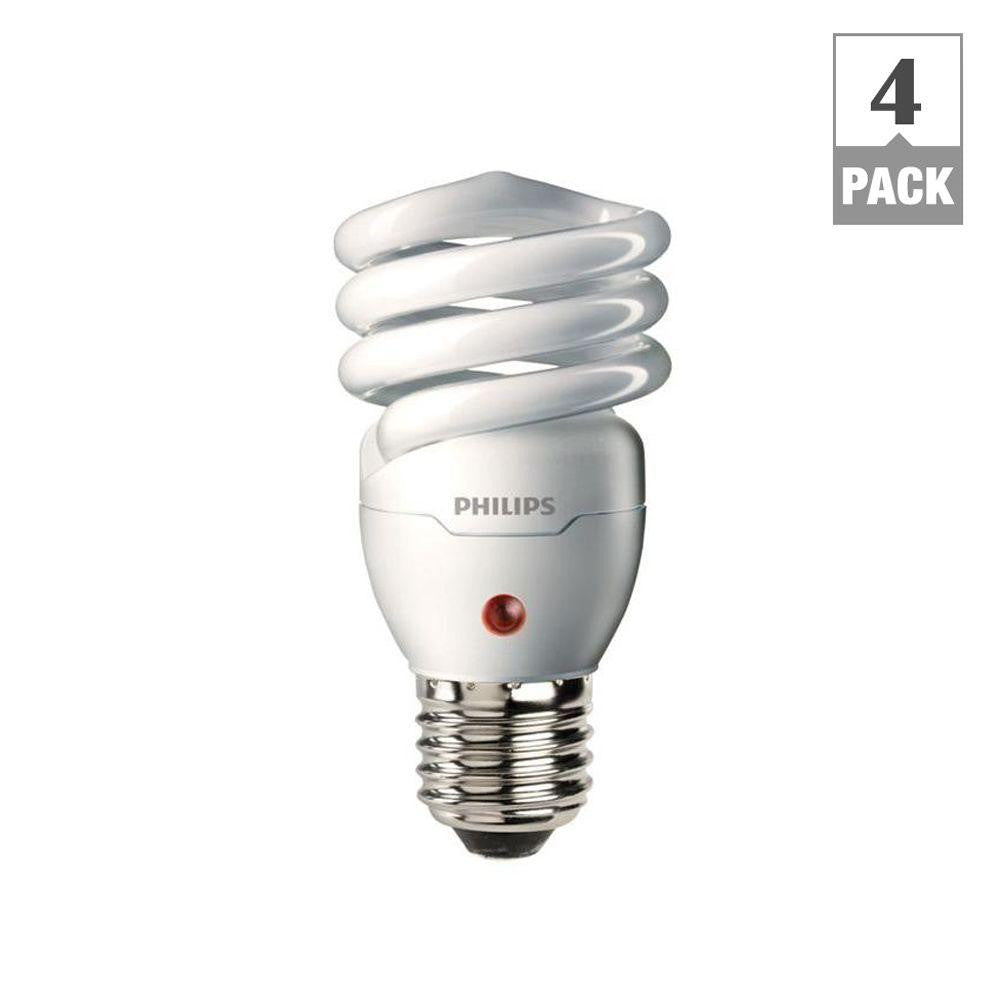 Philips 60W Equivalent Soft White Spiral Dusk till Dawn CFL Light Bulb (4-Pack) , BULB-CFL - Philips, A19LED.COM