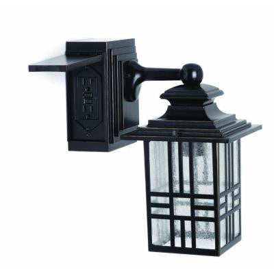 Mission Style Outdoor Black with Bronze Highlight Wall Lantern with Built-In Electrical Outlet (GFCI) , OUTDOOR LIGHTING - Hampton Bay, A19LED.COM