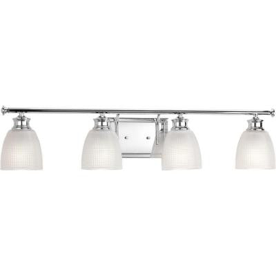 Progress Lighting, Lucky Collection 4-Light Polished Chrome Vanity Light , INDOOR LIGHTING FIXTURES - Progress Lighting, A19LED.COM