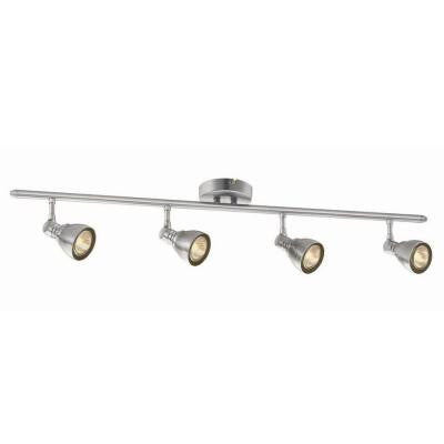 Hampton Bay, 34-7/8 in. 4-Light Brushed Nickel Fixed Track Lighting Kit , INDOOR LIGHTING FIXTURES - Hampton Bay, A19LED.COM