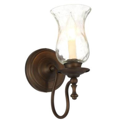 Hampton Bay, Grace 1-Light Rubbed Bronze Sconce , INDOOR LIGHTING FIXTURES - Hampton Bay, A19LED.COM