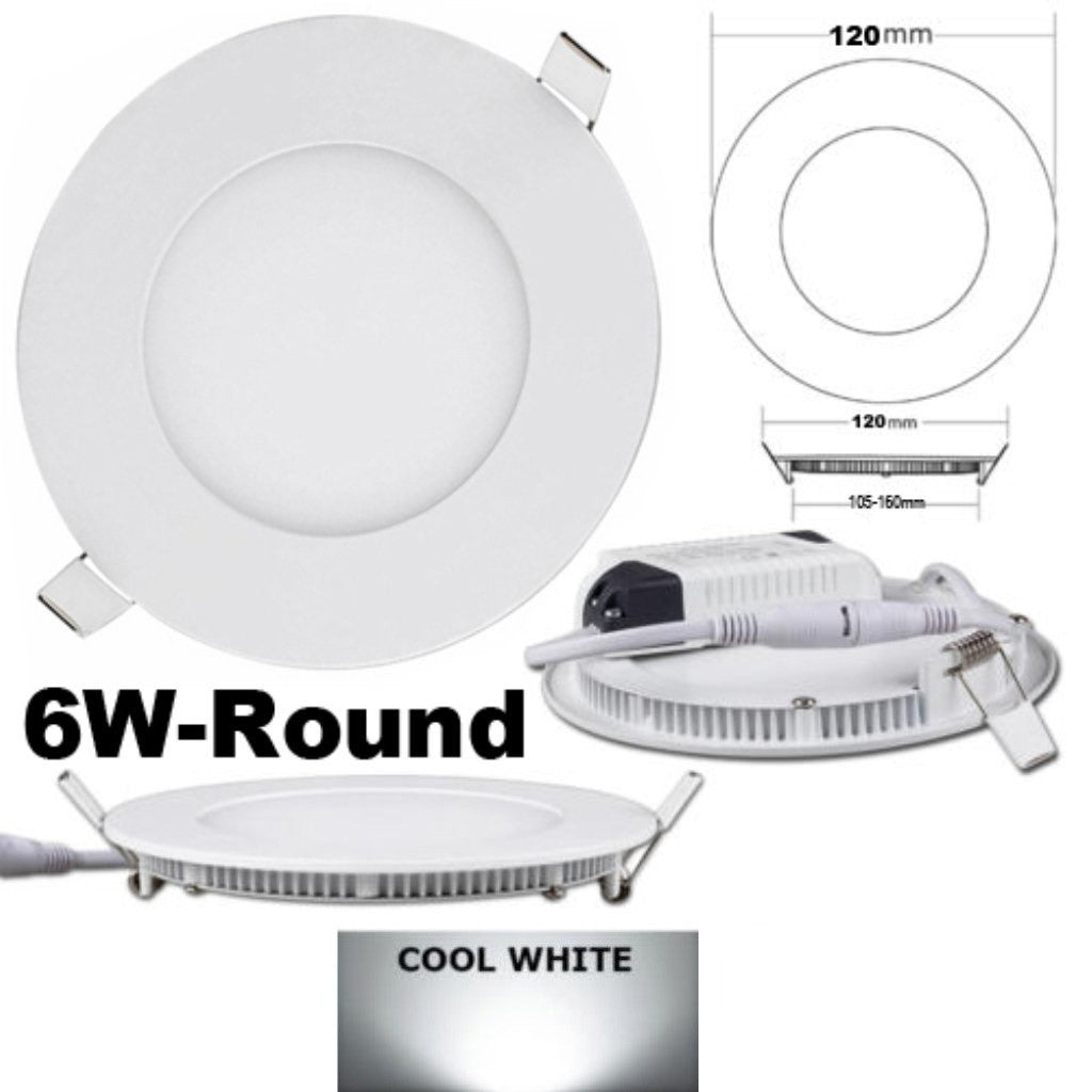 "4-3/4"" OD Round LED Panel Light,6W, Recessed, 4000K - LED Lighthouse Inc Webstores, ALLBulb & A19LED"