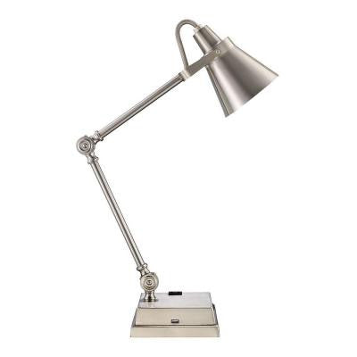 Monteaux, 23 in. Adjustable Brushed Nickel LED Desk Lamp with Built-In USB Socket