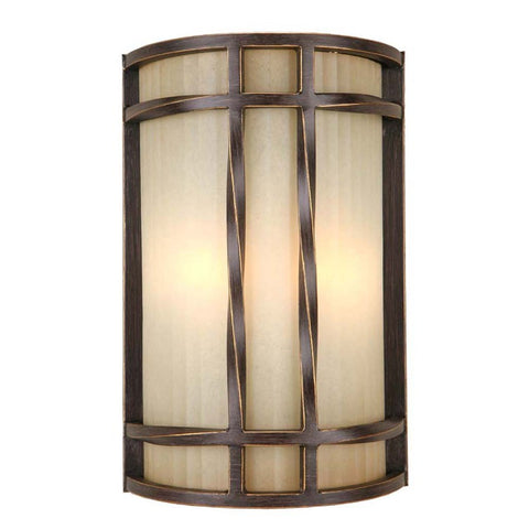 Portfolio, 8-in W 2-Light Antique Bronze Pocket Hardwired Wall Sconce