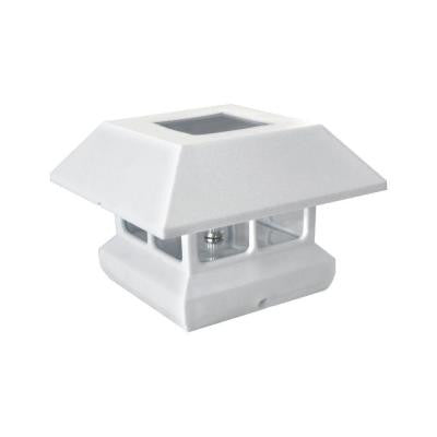 Veranda, 4 in. x 4 in. Post Cap Solar Powered White Plastic , OUTDOOR LIGHTING - Veranda, A19LED.COM