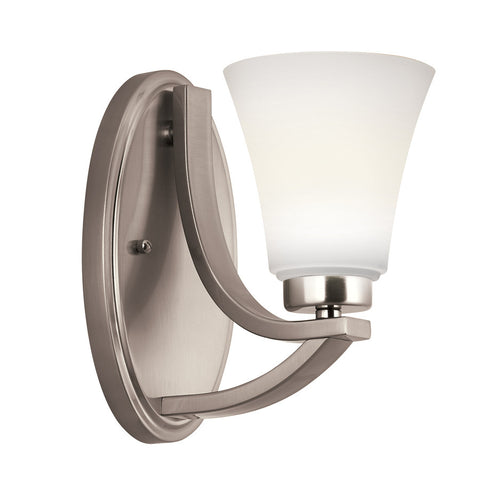 Portfolio Lyndsay 5-in W 1-Light Satin Nickel Arm Hardwired Wall Sconce , INDOOR LIGHTING FIXTURES - Portfolio, A19LED.COM