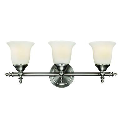 Hampton Bay, Traditional 3-Light Brushed Nickel Vanity Light , INDOOR LIGHTING FIXTURES - Hampton Bay, A19LED.COM