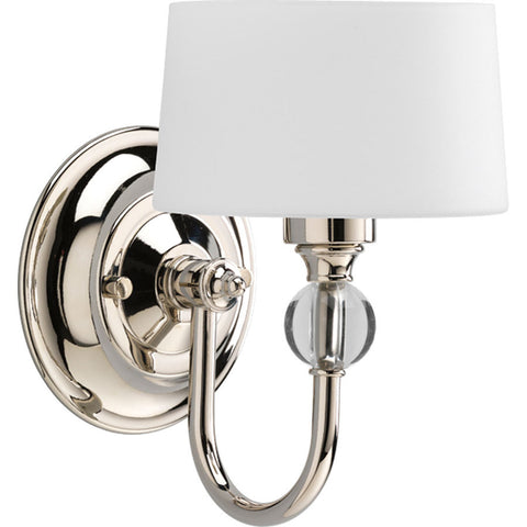 Progress Lighting Fortune 5.87-in W 1-Light Polished Nickel Arm Hardwired Wall Sconce , INDOOR LIGHTING FIXTURES - Progress Lighting, A19LED.COM