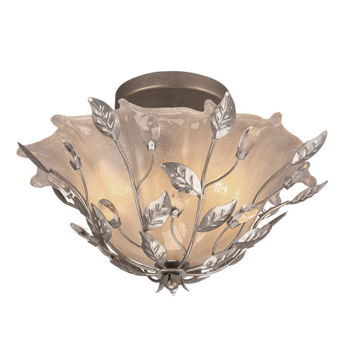 Portfolio, 15.87-in W Brushed Nickel Etched Glass Semi-Flush Mount Light
