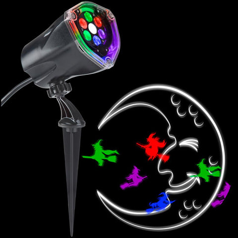 LightShow, LED Projection Plus-Whirl-a-Motion and Static-Witch with Moon