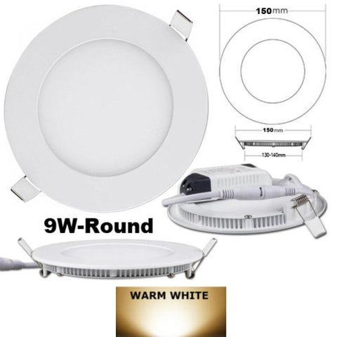 "5-3/4"" OD Round LED Panel Light,9W, Recessed, 3000K - LED Lighthouse Inc Webstores, ALLBulb & A19LED"