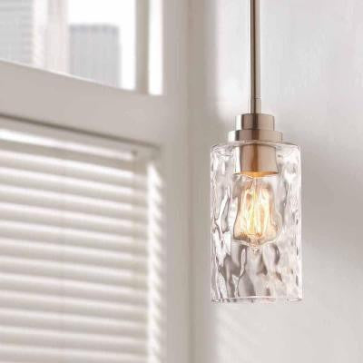 Home Decorators Collection, 1-Light Brushed Nickel Mini-Pendant with Clear Hammered Glass , INDOOR LIGHTING FIXTURES - Home Decorators Collection, A19LED.COM