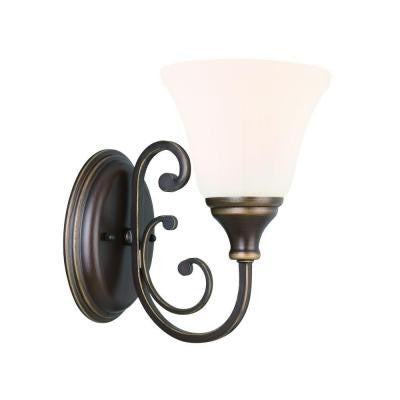 Hampton Bay, Somerset 1-Light Bronze Sconce , INDOOR LIGHTING FIXTURES - Hampton Bay, A19LED.COM