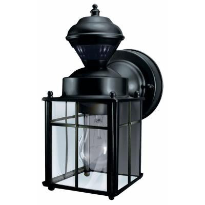 Heath Zenith, Bayside Mission 150-Degree Outdoor Black Motion-Sensing Lantern , OUTDOOR LIGHTING - Heath Zenith, A19LED.COM