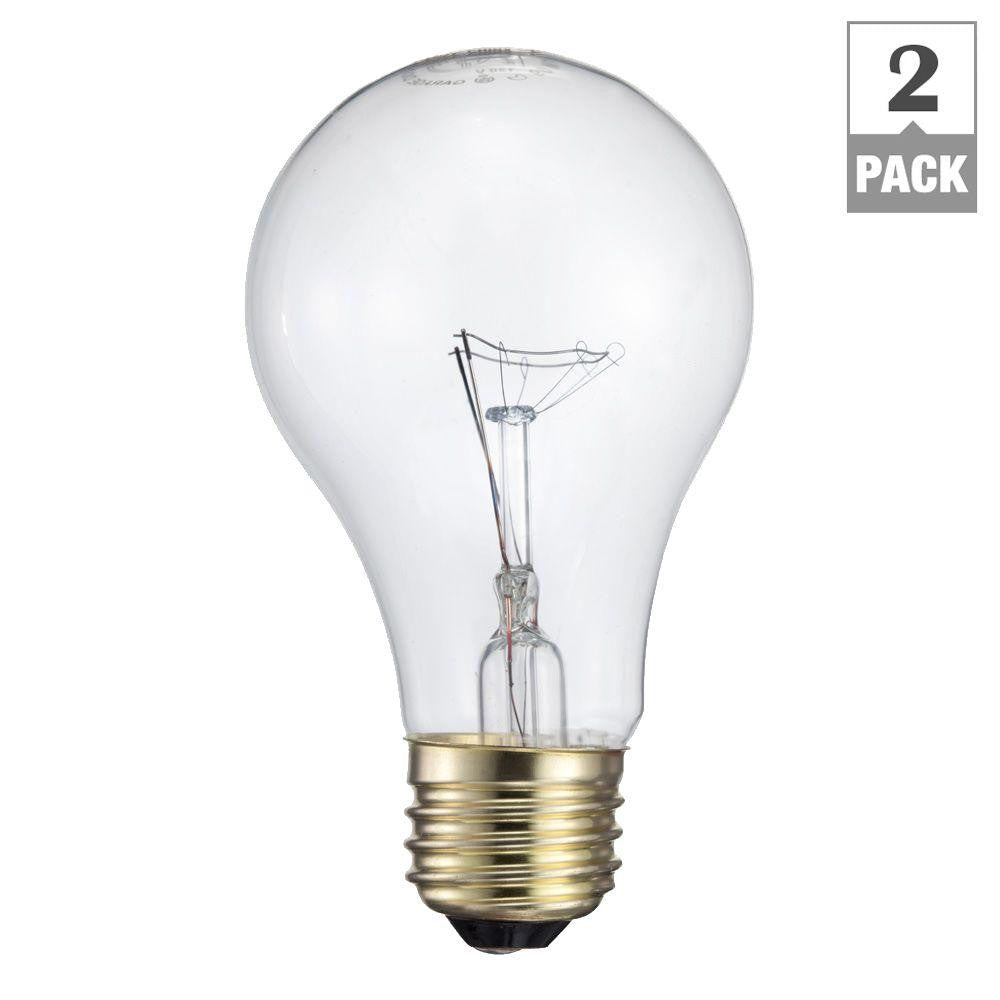 Philips 60-Watt Incandescent A19 Garage Door Light Bulb (2-Pack) , BULB-INCANDESCENT - Philips, A19LED.COM