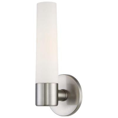 Hampton Bay, Arla 1-Light Brushed Nickel Sconce , INDOOR LIGHTING FIXTURES - Hampton Bay, A19LED.COM