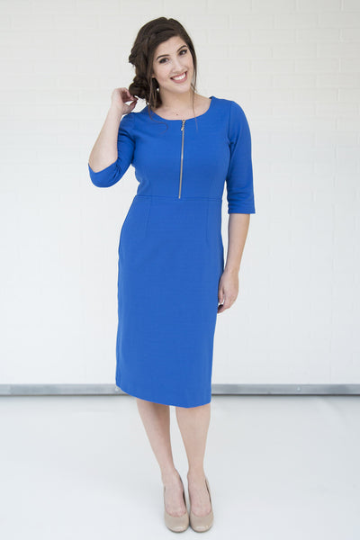 Jillian Dress Cute Dress Blue Dress Modest Dress Nursing Dress