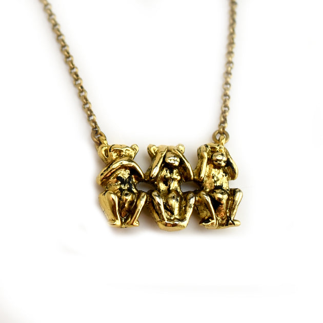 Wise Monkey Necklace, Necklace, Unmarked Industries - unX Industries - artisan jewelry made in U.S.A
