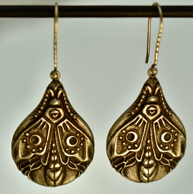 Luna Moth Earrings, Earrings, Unmarked Industries - unX Industries - artisan jewelry made in U.S.A