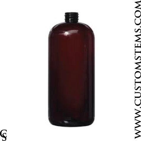Boston Round Bottle, Amber, 32oz