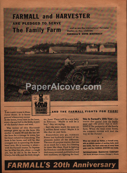 Farmall 20th Anniversary International Harvester tractors 1944 vintage original old magazine ad WWII war effort family farm
