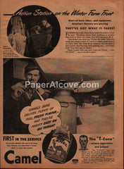 Camel Cigarettes pack 1944 vintage original old magazine ad WWII war effort farmer