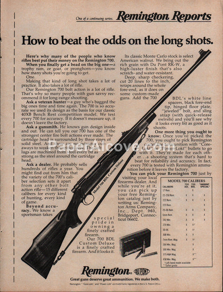 Remington Model 700 BDL Custom Deluxe Rifle 1975 vintage original old magazine ad hunting