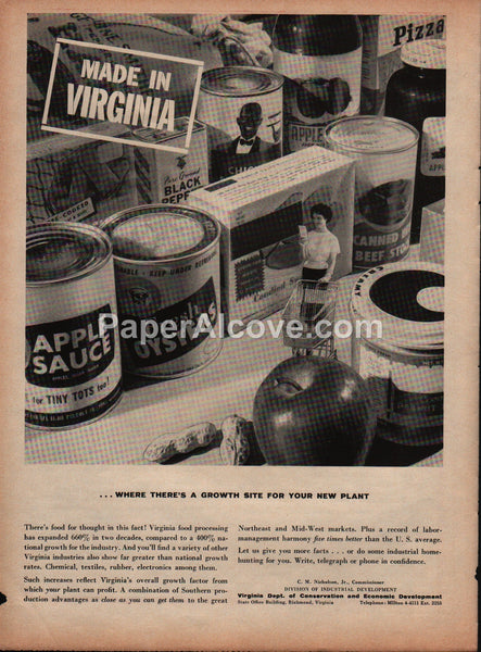 Made in Virginia Department of Conservation and Economic Development 1959 vintage original old magazine ad