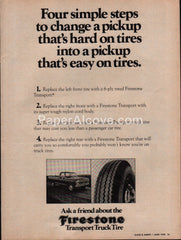 Firestone Transport Truck Tire 1976 vintage original old magazine ad